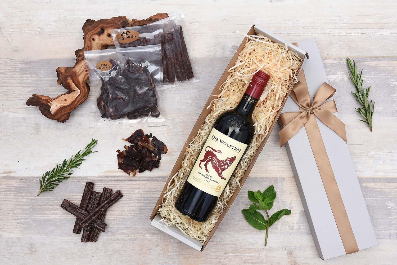 Biltong & Wolftrap Red Wine Hamper | Hamper World
