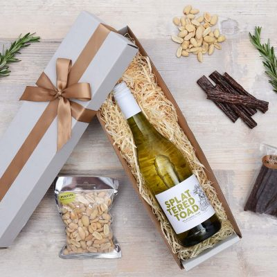 Splattered Toad White Wine Gift with Snacks | Hamper World