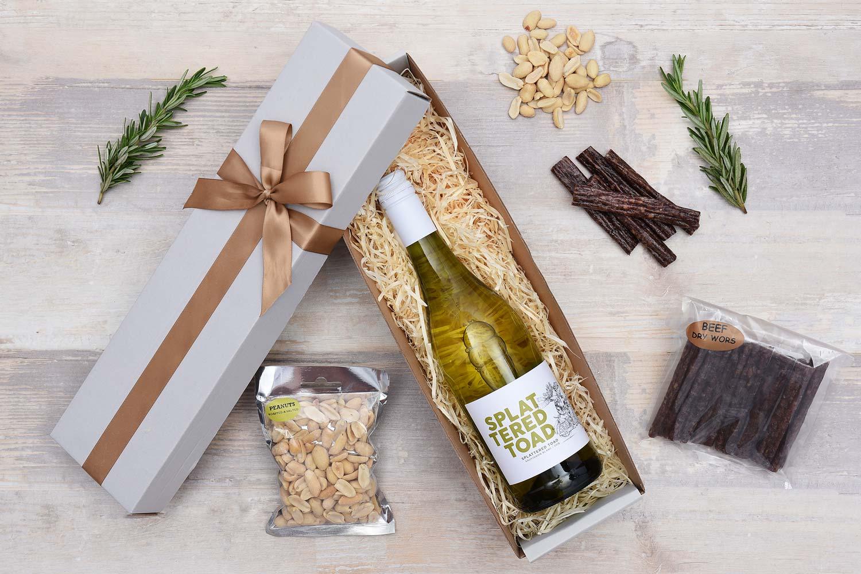Splattered Toad White Wine Gift with Snacks | Hamper World