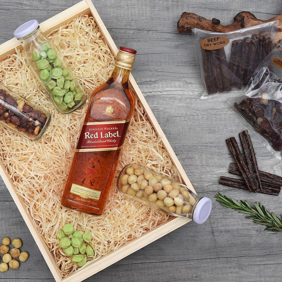 Johnnie Walker Red Label Whisky Hamper & Snacks | Hamper World