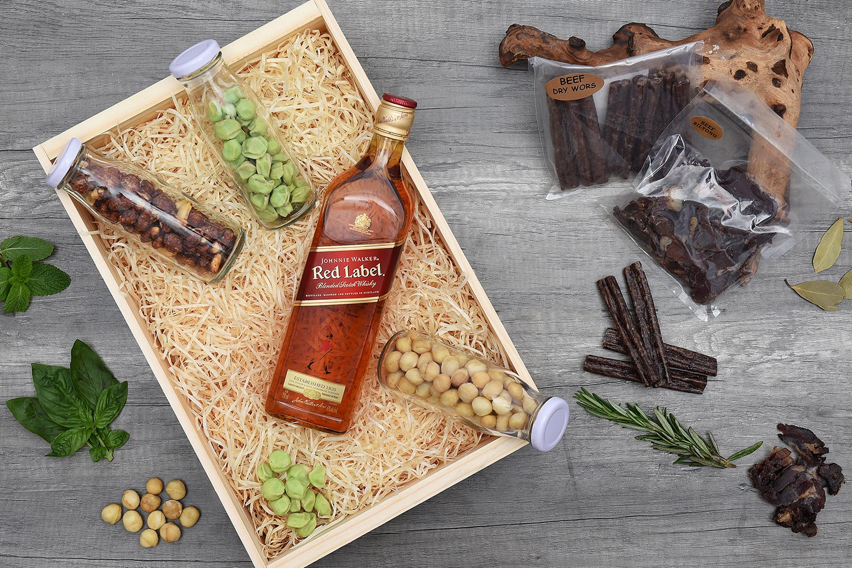 Johnnie Walker Red Label Whisky Hamper & Snacks   Hamper World
