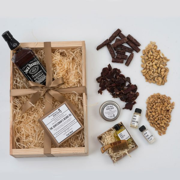 These Valentine's Day Gifts For Him include Beard Products, Nuts & Snacks, and a Bottle of Whisky. All presented beautifully in a custom wooden apple crate.