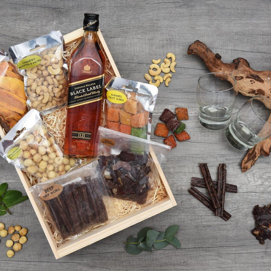 Johnnie Walker Whisky Gift with Snacks & Chocolate | Hamper World