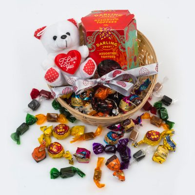 Darling Sweet Toffee Gift With Chocolates & Teddy | Hamper World