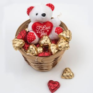 Valentine's Basket - Chocolates & Teddy from Hamper World. This Valentine's Basket includes a range of Chocolate Hearts and a Small Teddy Bear. Delivered nationwide for only R69.90.