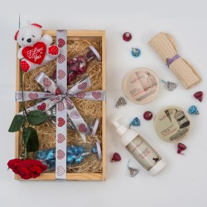 This Valentine's Pamper Gift includes a range of Chocolates in glass jars and a selection of Spoil Yourself Bath & Body Products in a custom wooden tray.