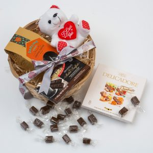 Gift Basket With Toffees, Chocolates & A Teddy | Hamper World