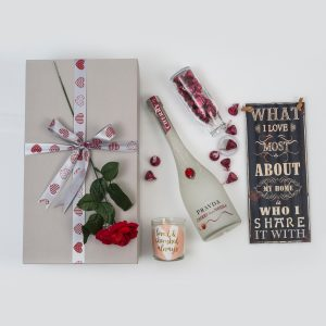 This Valentine's Day Romantic Gifts Hamper includes a range of different love gifts, a bottle of Vodka and Chocolates. Delivered Nationwide.