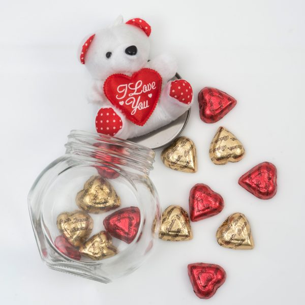 Valentine's Chocolate Hearts & Teddy R249.90 This Valentine's Jar includes a range of Chocolates and a Small Teddy Bear in a Glass Jar: Glass Jar Plush Teddy Bear 14 Reeses Chocolate Hearts Nationwide Delivery for only R69.90.