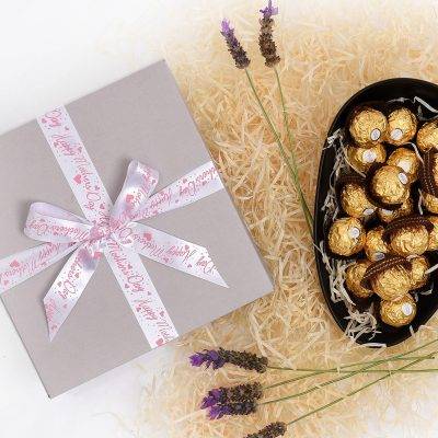 Oval Dish Filled With Ferrero Rocher Chocolates | Hamper World