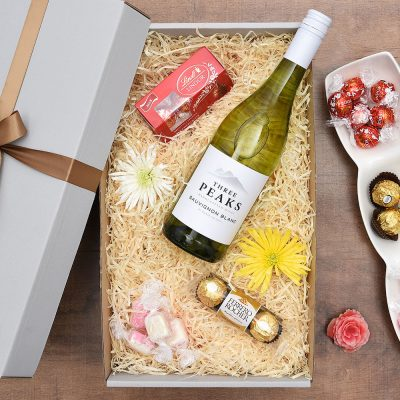 Three Peaks Wine Gift With Sweets | Hamper World