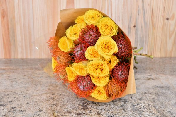 Bouquet Of Proteas And Yellow Roses | Hamper World