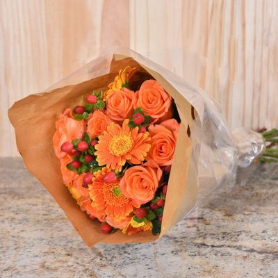 Bouquet Of Orange Roses & Flowers | Hamper World
