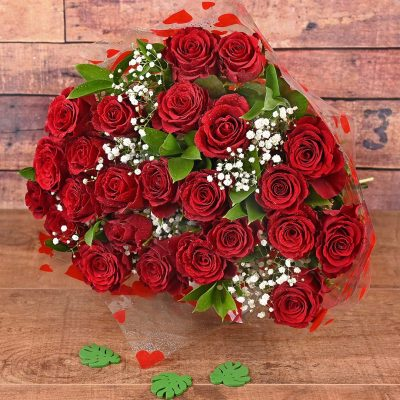 24 Red Roses Bouquet Flowers | Hamper World