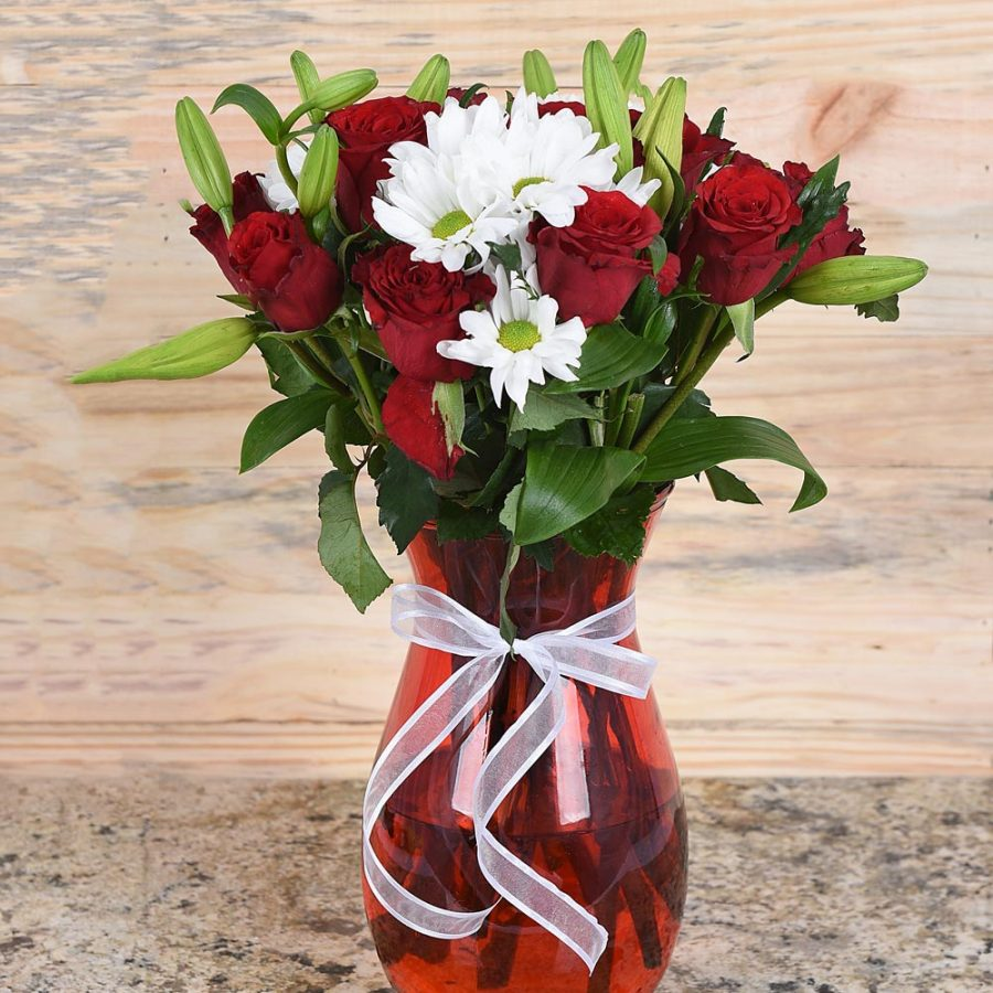 Gorgeous Bouquet Of Red Roses & Lilies | Hamper World Florist