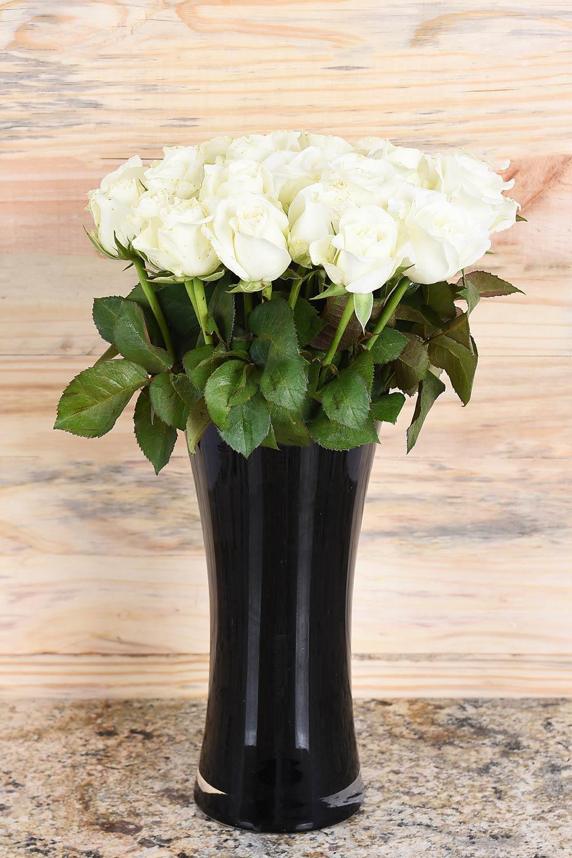 H&er World & White Roses In Black Vase