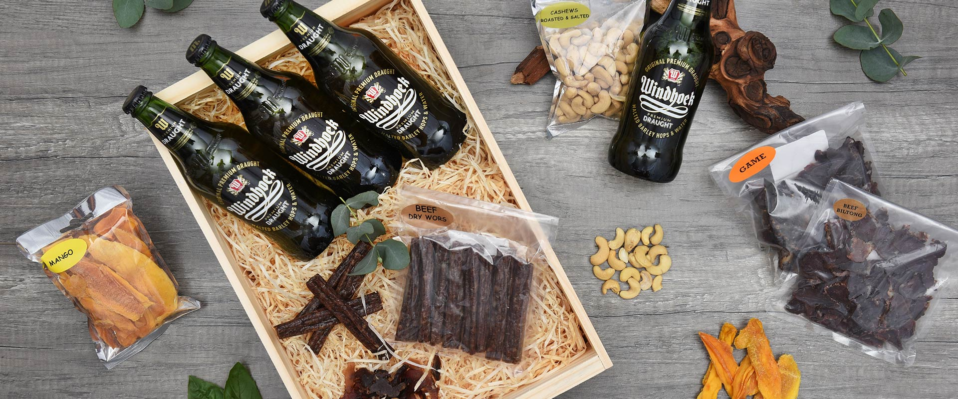 Windhoek Draught Beer Crate With Snacks | Hamper World
