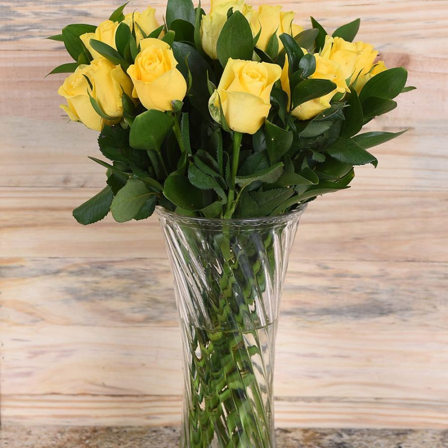 Gorgeous Yellow Roses Bouquet in Vase | Hamper World Florist
