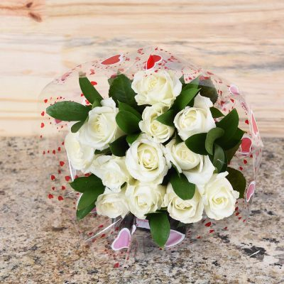 Romantic Bouquet Of 13 White Roses For Valentine | Hamper World Florist
