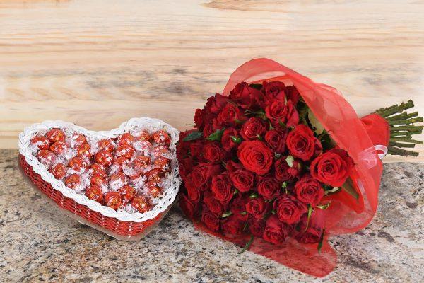 Exclusive Red Roses & Lindt Chocolates   Hamper World Florist