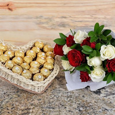 Red & White Roses With Ferrero Rocher | Hamper World Florist