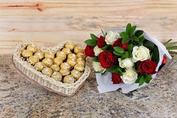 Red & White Roses With Ferrero Rocher | Hamper World Florist