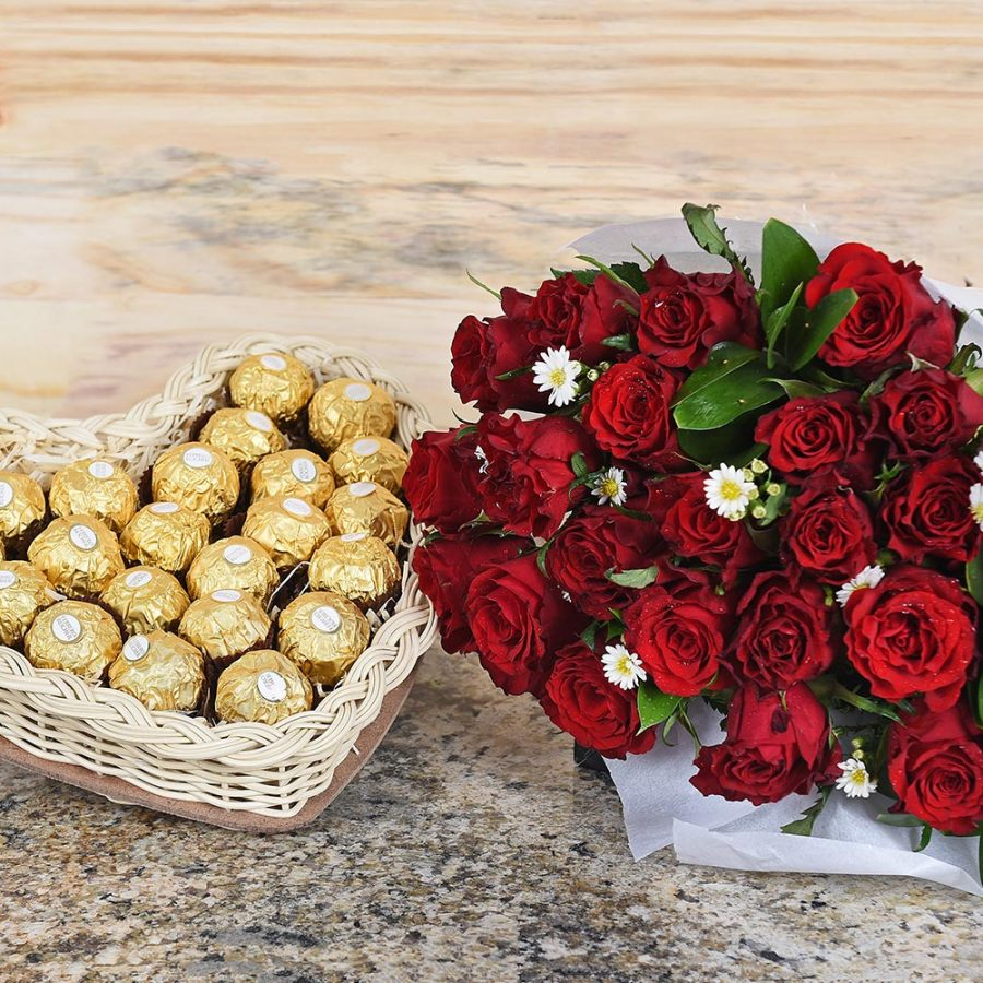 Valentine's Day Red Roses & Lindt Chocolates   Hamper World Florist