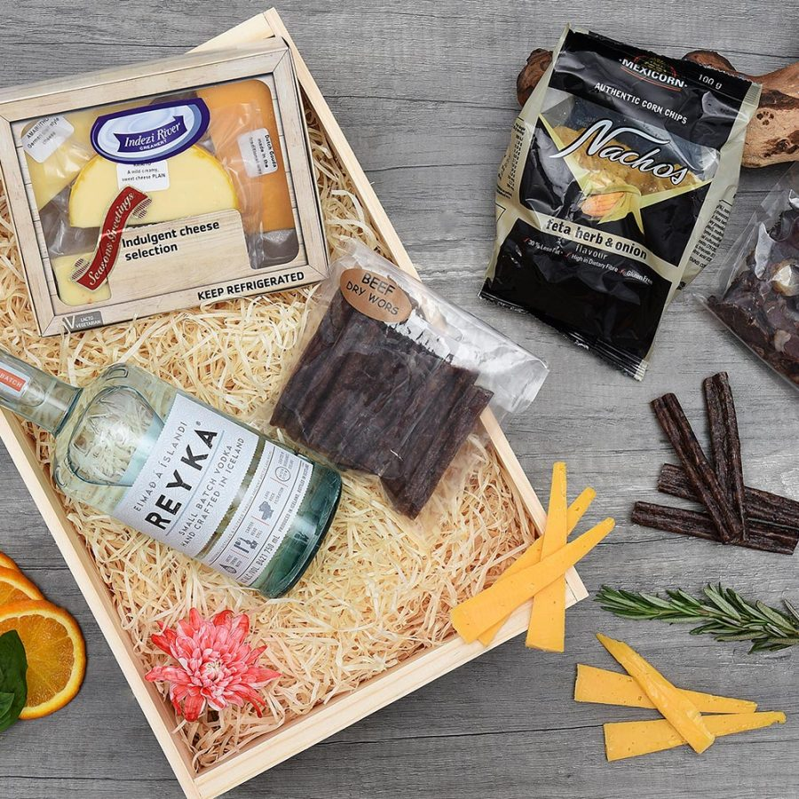 Reyka Vodka, Cheese & Snack Gift Hamper | Hamper World