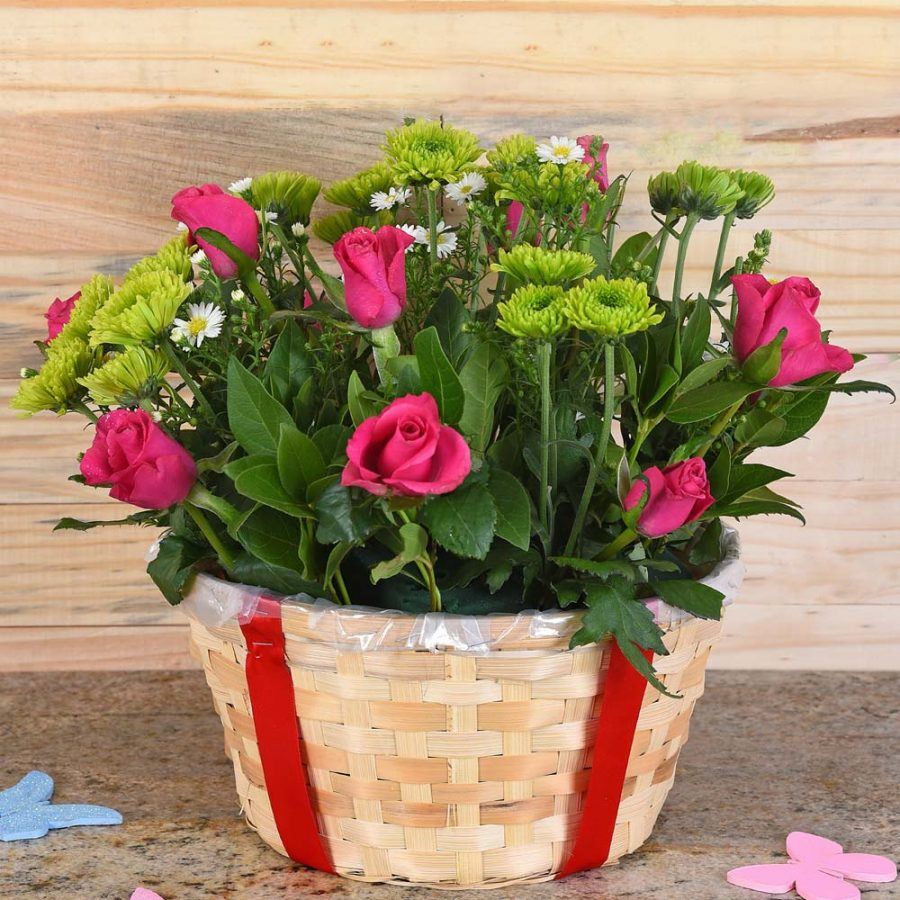 Cerise Roses & Sprays in Basket | Hamper World Florist