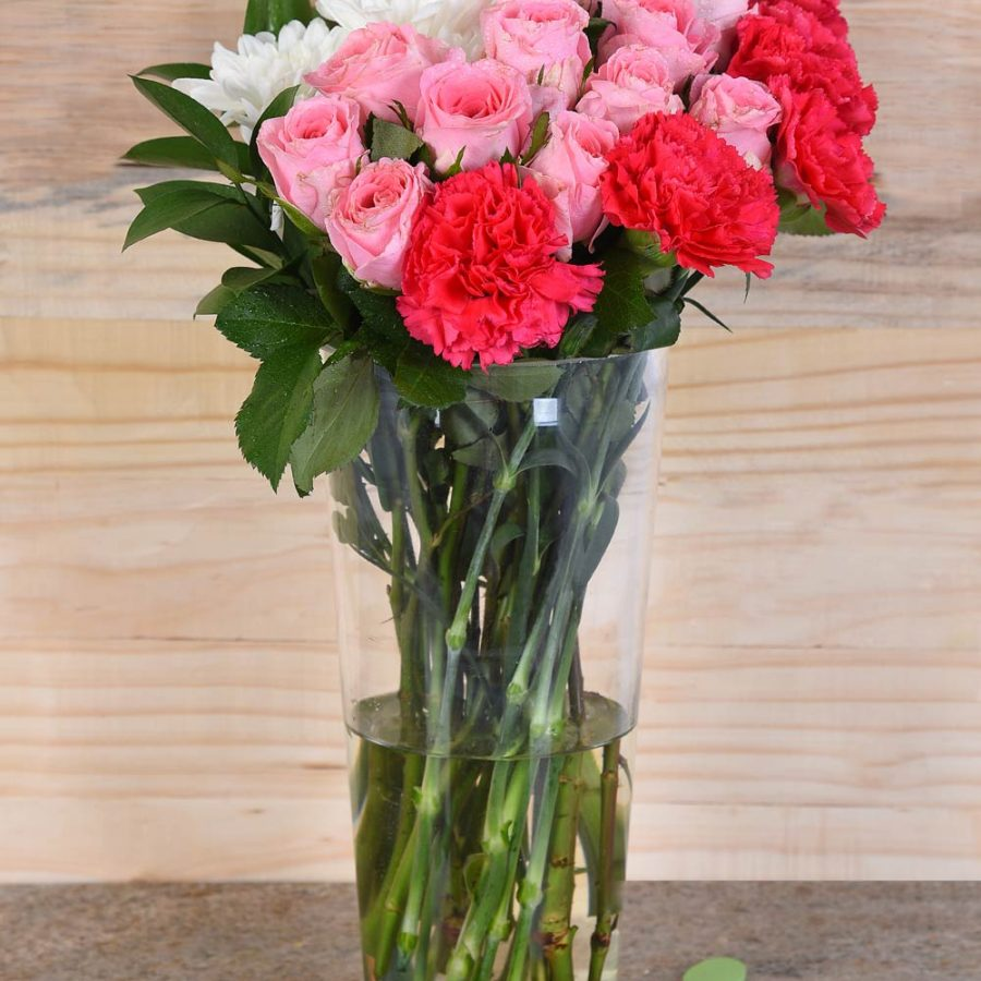 Cerise Carnations & Pink Roses in Vase | Hamper World Florist