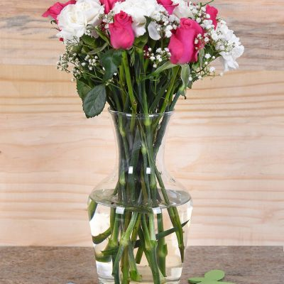 Cerise Roses & White Carnations in Vase | Hamper World Florist