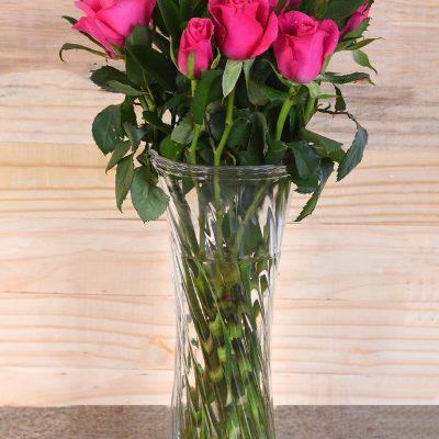 Gorgeous Cerise Roses In Vase | Hamper World Florist
