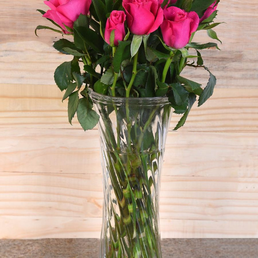 Gorgeous Cerise Roses In Vase | Hamper World Florist