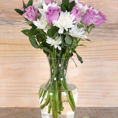 Gorgeous Lilac Roses in Vase | Hamper World Florist