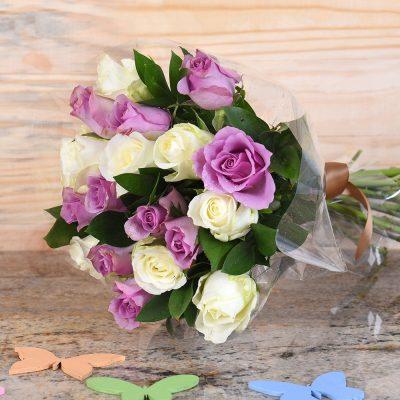 Bouquet Of Lilac & White Roses | Hamper World Florist