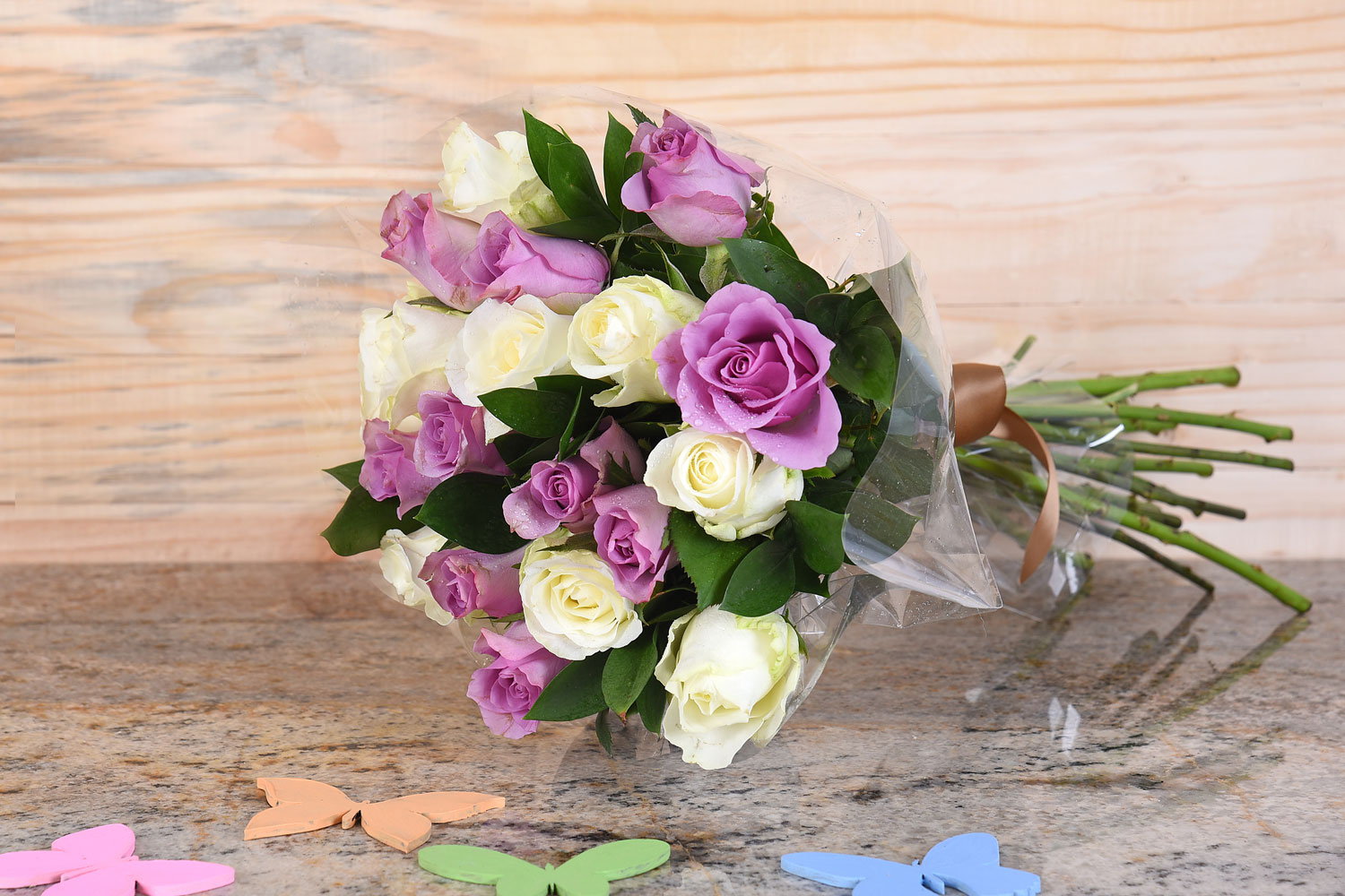 Bouquet Of Lilac & White Roses | Hamper World Florist