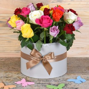 Mixed Roses in Large Hat Box | Hamper World Florist