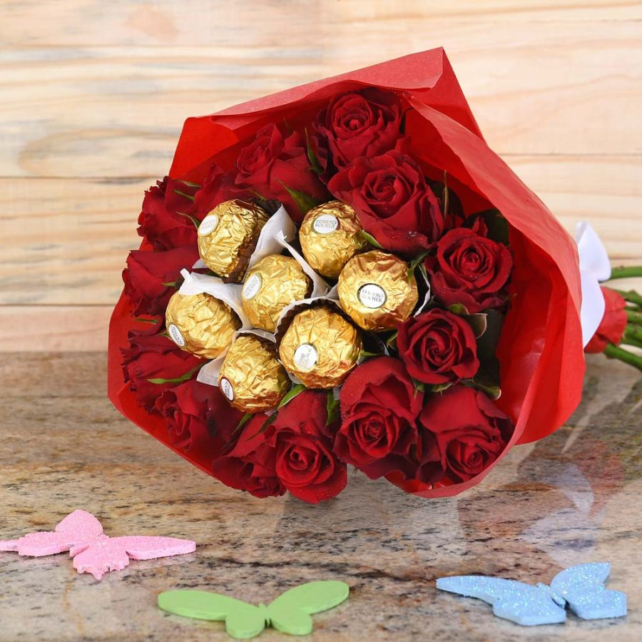 Red Roses & Ferrero Rocher Bouquet | Hamper World Florist