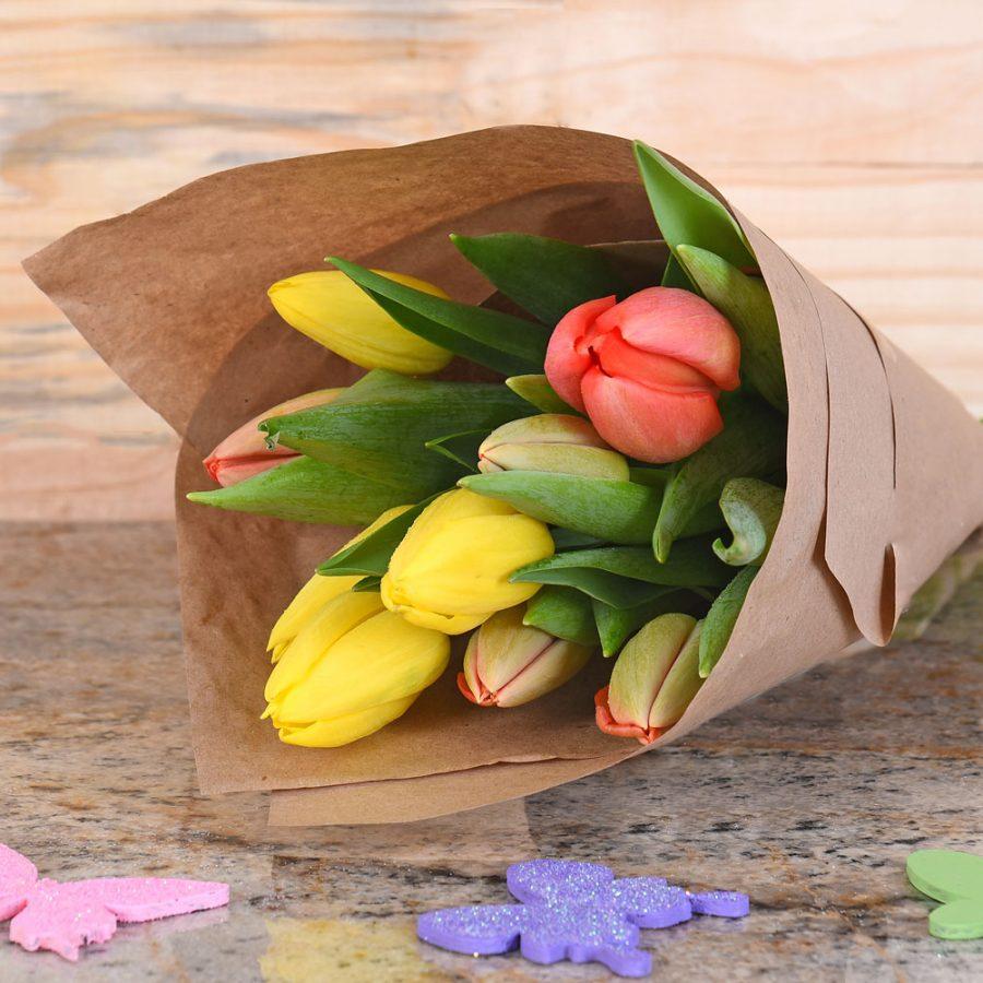 Yellow & Orange Tulip Bouquet | Hamper World Florist