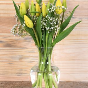 Beautiful Yellow Tulips in Vase | Hamper World Florist