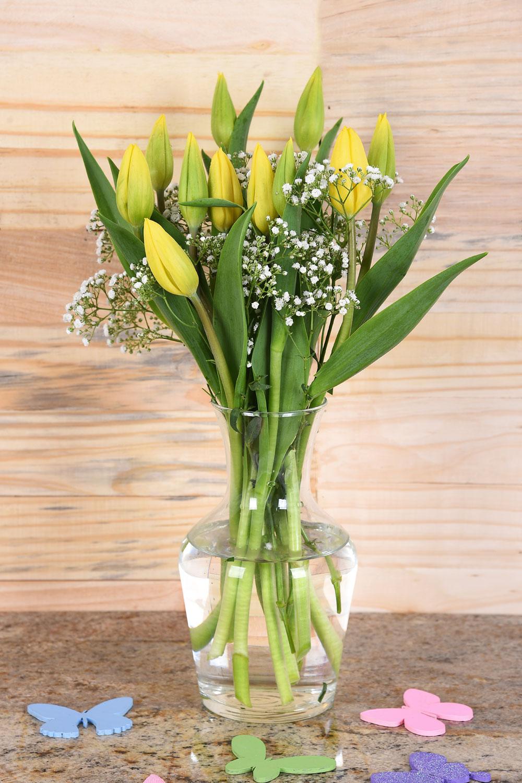 Beautiful Yellow Tulips in Vase | Hamper World Florist