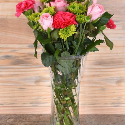 Carnations & Roses in Vase | Hamper World Florist