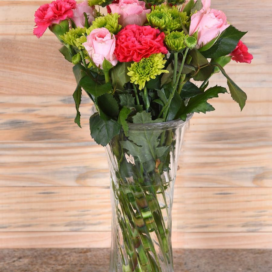 Carnations & Roses in Vase | Hamper World Florist