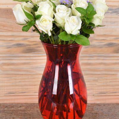 Gorgeous White Roses in Red Vase | Hamper World Florist
