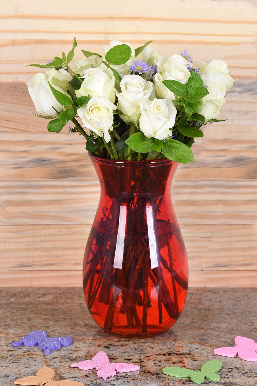 Gorgeous White Roses In Red Vase Hamper World Florist