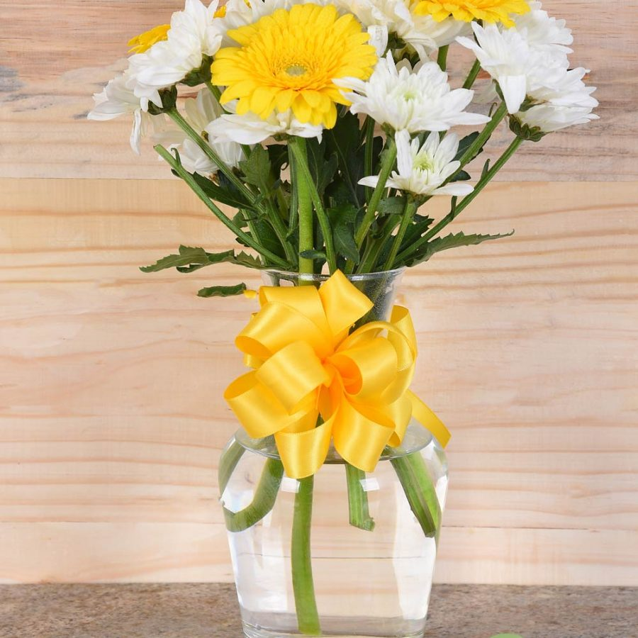 Gorgeous Yellow Gerberas In Vase | Hamper World Florist