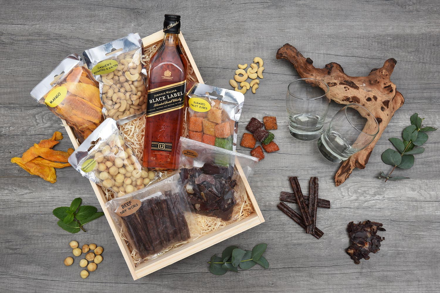 Exclusive Valentines Day Gift Johnnie Walker and Biltong Hamper World