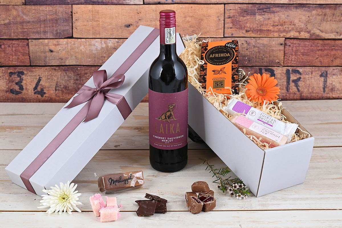 Laika Red Wine Hamper with Sweets | Hamper World