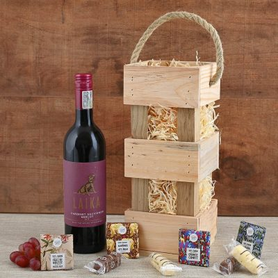 Laika Wine in Carrier With Sweets | Hamper World