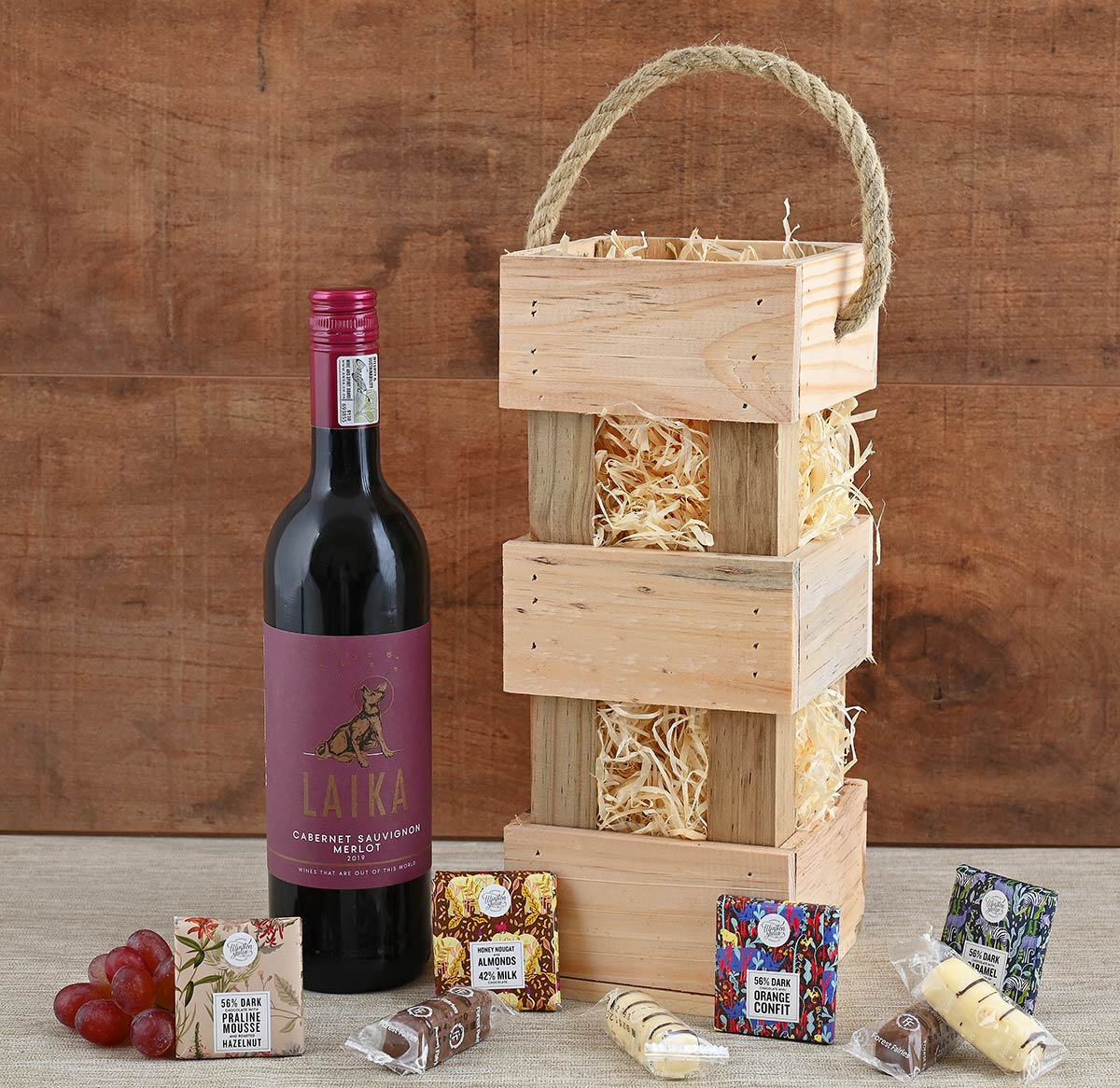 Laika Wine in Carrier With Sweets   Hamper World